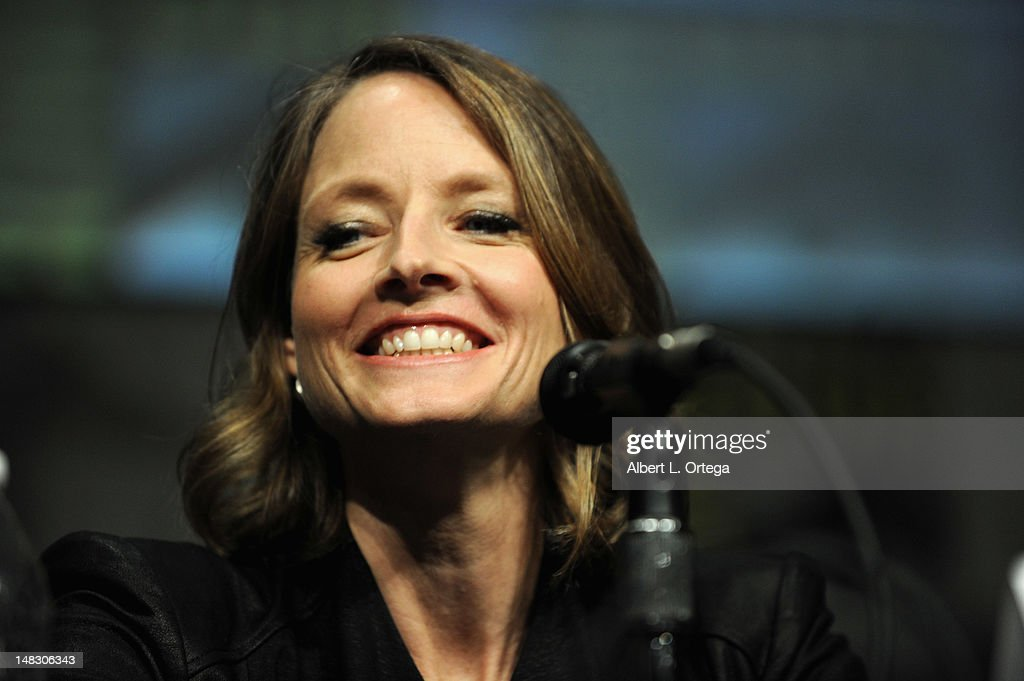 Actor <a gi-track='captionPersonalityLinkClicked' href=/galleries/search?phrase=Jodie+Foster&family=editorial&specificpeople=204488 ng-click='$event.stopPropagation()'>Jodie Foster</a> speaks during Sony's 'Elysium' panel during Comic-Con International 2012 at San Diego Convention Center on July 13, 2012 in San Diego, California.