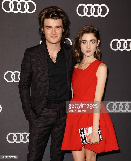Actor Joe Keery and actress Natalia Dyer attend the Audi celebration for the 69th Emmys at The Highlight Room at the Dream Hollywood on September 14...