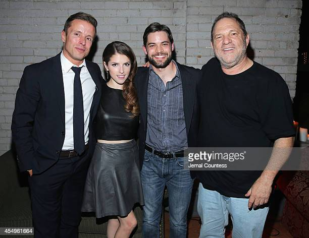 Actor Joe Machota actress Anna Kendrick actor Jeremy Jordan and director/producer Harvey Weinstein attend 'The Last 5 Years' party at the Virgin...