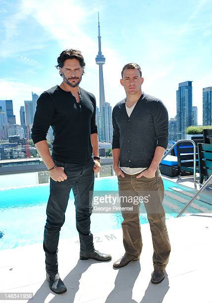 Actor Joe Manganiello and Actor Channing Tatum pose for a portrait at the press junket for their new film 'Magic Mike' at the Thompson Hotel on June...
