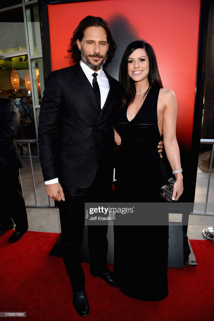 Actor <a gi-track='captionPersonalityLinkClicked' href=/galleries/search?phrase=Joe+Manganiello&family=editorial&specificpeople=2516889 ng-click='$event.stopPropagation()'>Joe Manganiello</a> and model Bridget Peters attend HBO's 'True Blood' season 6 premiere at ArcLight Cinemas Cinerama Dome on June 11, 2013 in Hollywood, California.