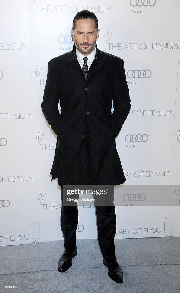 Actor Joe Manganiello arrives at The Art of Elysium's Heaven Gala at 2nd Street Tunnel on January 12, 2013 in Los Angeles, California.