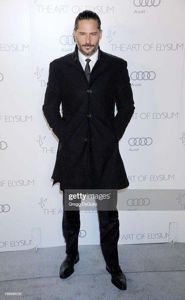 Actor Joe Manganiello arrives at The Art of Elysium's Heaven Gala at 2nd Street Tunnel on January 12, 2013 in Los Angeles, California.