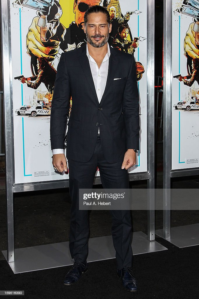 Actor <a gi-track='captionPersonalityLinkClicked' href=/galleries/search?phrase=Joe+Manganiello&family=editorial&specificpeople=2516889 ng-click='$event.stopPropagation()'>Joe Manganiello</a> arrives at the premiere of Lionsgate Films' 'The Last Stand' held at Grauman's Chinese Theatre on January 14, 2013 in Hollywood, California.