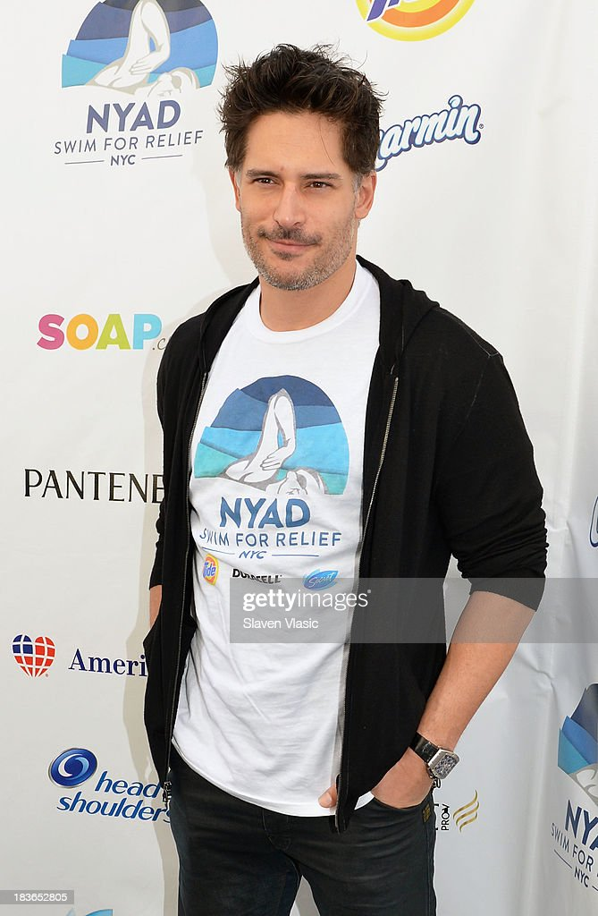 Actor <a gi-track='captionPersonalityLinkClicked' href=/galleries/search?phrase=Joe+Manganiello&family=editorial&specificpeople=2516889 ng-click='$event.stopPropagation()'>Joe Manganiello</a> attends day 1 of 'Swim For Relief' Benefiting Hurricane Sandy Recovery at Herald Square on October 8, 2013 in New York City.