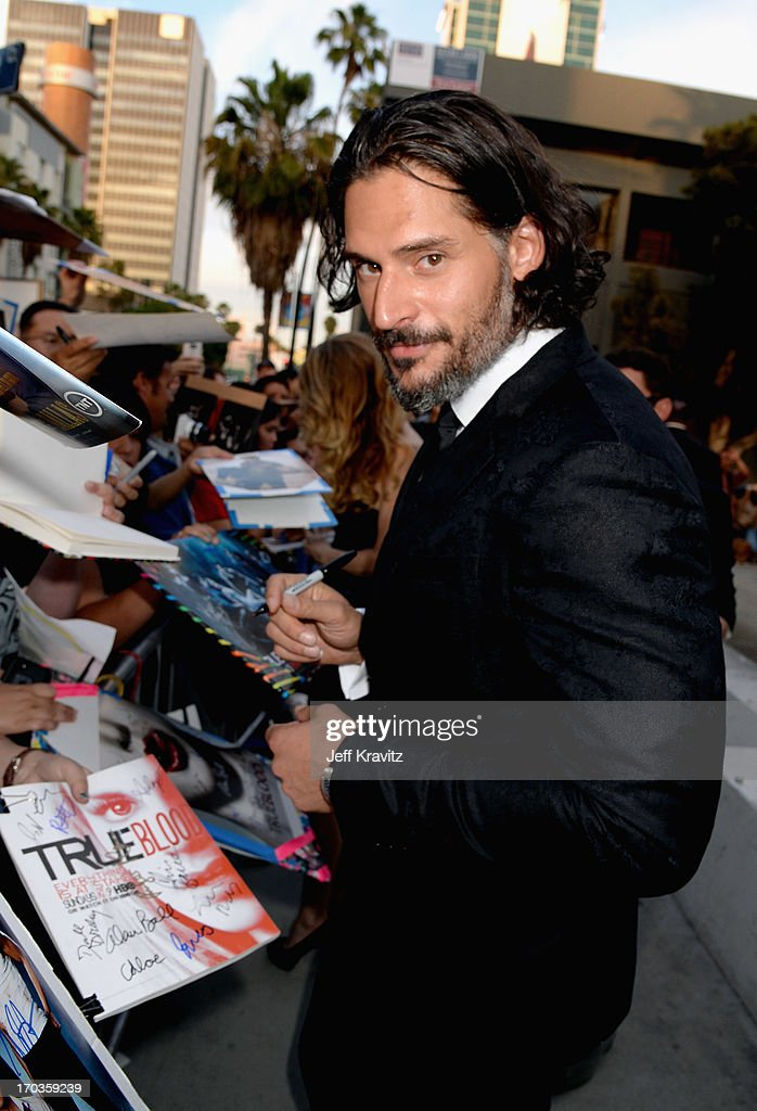 Actor <a gi-track='captionPersonalityLinkClicked' href=/galleries/search?phrase=Joe+Manganiello&family=editorial&specificpeople=2516889 ng-click='$event.stopPropagation()'>Joe Manganiello</a> attends HBO's 'True Blood' season 6 premiere at ArcLight Cinemas Cinerama Dome on June 11, 2013 in Hollywood, California.