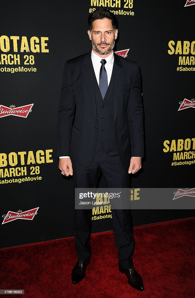 Actor <a gi-track='captionPersonalityLinkClicked' href=/galleries/search?phrase=Joe+Manganiello&family=editorial&specificpeople=2516889 ng-click='$event.stopPropagation()'>Joe Manganiello</a> attends the premiere of 'Sabotage' at Regal Cinemas L.A. Live on March 19, 2014 in Los Angeles, California.
