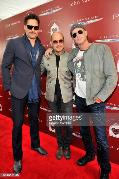 Actor Joe Manganiello designer John Varvatos and musician Chad Smith arrive at the John Varvatos 11th Annual Stuart House Benefit presented by...