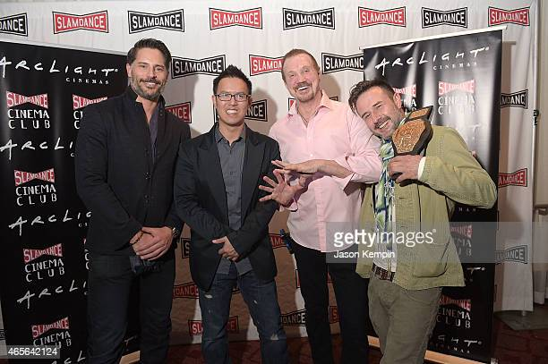 Actor Joe Manganiello director Steve Yu wrestler Diamond Dallas Page and actor David Arquette attend the Slamdance Cinema Club screening of...