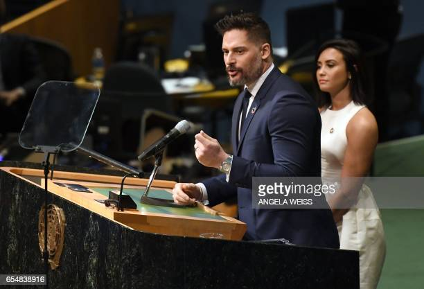 Actor Joe Manganiello speaks on International Day of Happiness in conjunction with SMURFS THE LOST VILLAGE at the United Nations Headquarters on...
