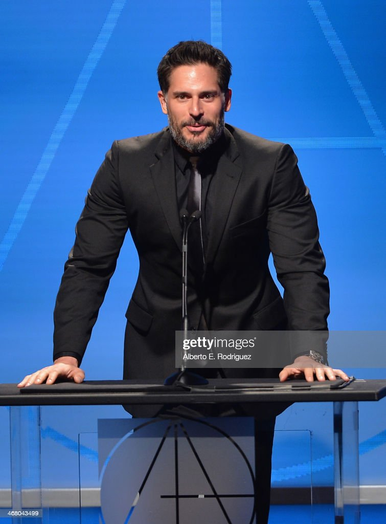 Actor <a gi-track='captionPersonalityLinkClicked' href=/galleries/search?phrase=Joe+Manganiello&family=editorial&specificpeople=2516889 ng-click='$event.stopPropagation()'>Joe Manganiello</a> speaks on stage atthe 18th Annual Art Directors Guild Exellence In Production Design Awards at The Beverly Hilton Hotel on February 8, 2014 in Beverly Hills, California.