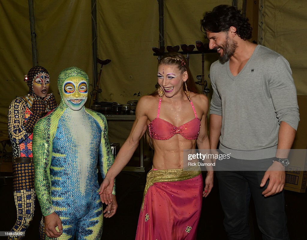 Actor Joe Manganiello 'TEN' and Cirque performer backstage after the Cirque du Soleil TOTEM Premiere at Atlantic Station on October 26, 2012 in Atlanta, Georgia.
