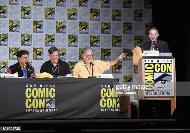 Actor Joe Mantegna producer Al Jean writer/producer Matt Groening and moderator Michael Schneider attend 'The Simpsons' panel during ComicCon...