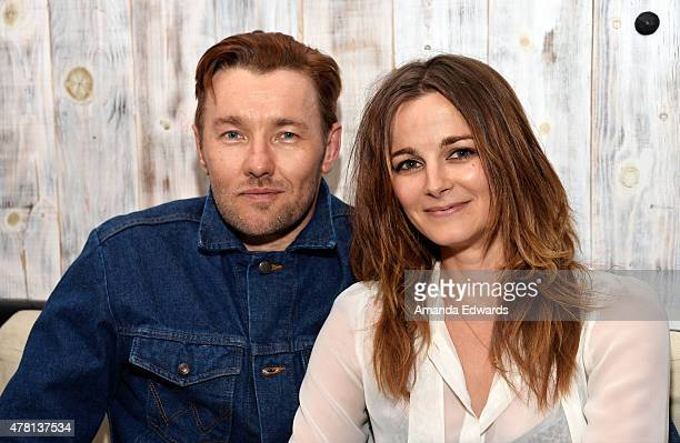 Actor Joel Edgerton and actress Bojana Novakovic pose together after their Benefit Nepal special performance of 'The Blind Date Project' at Beso on...