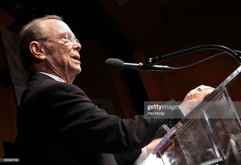 Actor <a gi-track='captionPersonalityLinkClicked' href=/galleries/search?phrase=Joel+Grey&family=editorial&specificpeople=215297 ng-click='$event.stopPropagation()'>Joel Grey</a> speaks at the 'Cabaret' Washington DC Screening honoring <a gi-track='captionPersonalityLinkClicked' href=/galleries/search?phrase=Joel+Grey&family=editorial&specificpeople=215297 ng-click='$event.stopPropagation()'>Joel Grey</a> at Smithsonian National Museum Of American History on February 22, 2013 in Washington, DC.