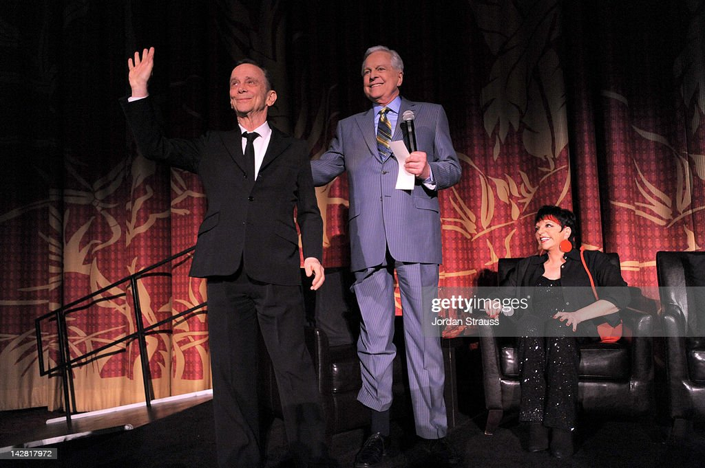 Actor Joel Grey TCM host Robert Osborne and actress/singer Liza Minnelli speak onstage at the 2012 TCM Classic Film Festival Opening Night Gala held...