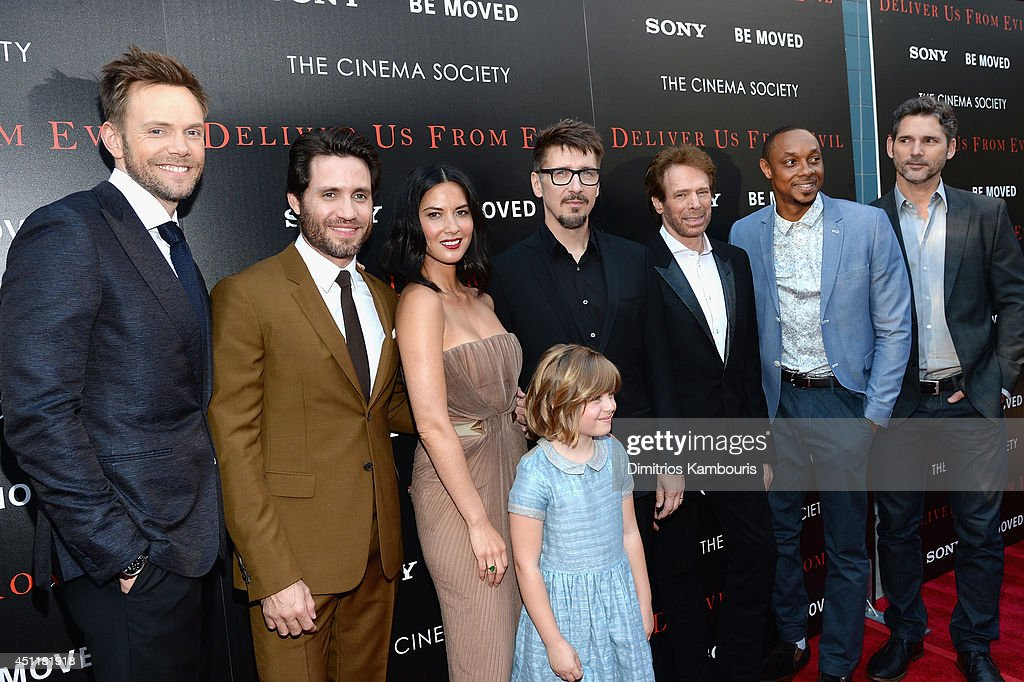 Actor <a gi-track='captionPersonalityLinkClicked' href=/galleries/search?phrase=Joel+McHale&family=editorial&specificpeople=754384 ng-click='$event.stopPropagation()'>Joel McHale</a>, <a gi-track='captionPersonalityLinkClicked' href=/galleries/search?phrase=%C3%89dgar+Ram%C3%ADrez&family=editorial&specificpeople=8531989 ng-click='$event.stopPropagation()'>Édgar Ramírez</a>, <a gi-track='captionPersonalityLinkClicked' href=/galleries/search?phrase=Olivia+Munn&family=editorial&specificpeople=598969 ng-click='$event.stopPropagation()'>Olivia Munn</a>, Lulu Wilson, <a gi-track='captionPersonalityLinkClicked' href=/galleries/search?phrase=Scott+Derrickson&family=editorial&specificpeople=2260182 ng-click='$event.stopPropagation()'>Scott Derrickson</a>, <a gi-track='captionPersonalityLinkClicked' href=/galleries/search?phrase=Jerry+Bruckheimer&family=editorial&specificpeople=203316 ng-click='$event.stopPropagation()'>Jerry Bruckheimer</a>, <a gi-track='captionPersonalityLinkClicked' href=/galleries/search?phrase=Dorian+Missick&family=editorial&specificpeople=678688 ng-click='$event.stopPropagation()'>Dorian Missick</a> and <a gi-track='captionPersonalityLinkClicked' href=/galleries/search?phrase=Eric+Bana&family=editorial&specificpeople=202104 ng-click='$event.stopPropagation()'>Eric Bana</a> attend the 'Deliver Us From Evil' screening hosted by Screen Gems & <a gi-track='captionPersonalityLinkClicked' href=/galleries/search?phrase=Jerry+Bruckheimer&family=editorial&specificpeople=203316 ng-click='$event.stopPropagation()'>Jerry Bruckheimer</a> Films with The Cinema Society at SVA Theater on June 24, 2014 in New York City.