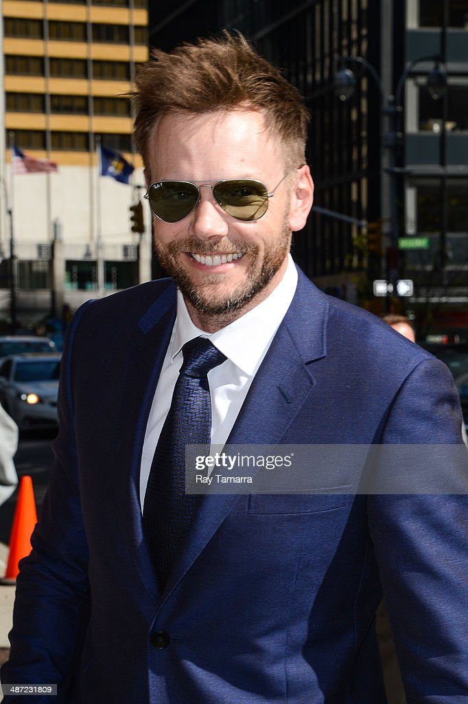 Actor Joel McHale enters the 'Late Show With David Letterman' taping at the Ed Sullivan Theater on April 28 2014 in New York City
