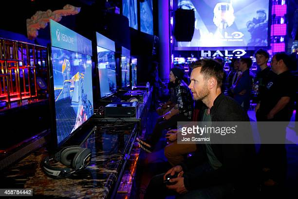 "Actor Joel McHale gets hands on with the upcoming ""Halo 5 Guardians"" Multiplayer Beta during HaloFest at the Avalon Theatre on Monday Nov 10 2014 in..."