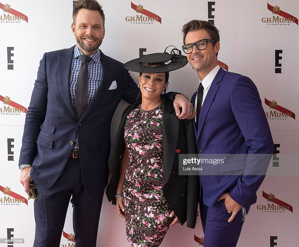 Actor Joel McHale TV Personality Melissa Rivers and TV Personality Brad Goreski at the Mumm Marquee on Melbourne Cup Day at Flemington Racecourse on...