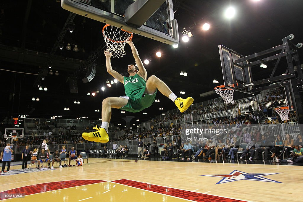 Actor Joel Moore dunks the ball during the Celebrity Slam Dunk on center court at Jam Session presented by Adidas during NBA All Star Weekend at the Los Angeles Convention Center on February 20, 2011 in Los Angeles, California.
