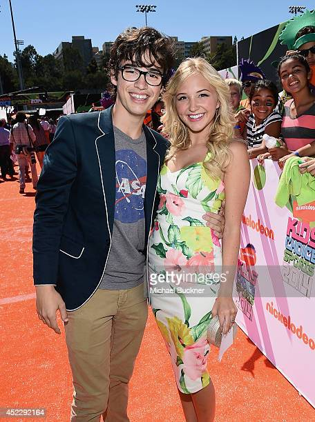 Actor Joey Bragg and TV actress Audrey Whitby attends Nickelodeon Kids' Choice Sports Awards 2014 at UCLA's Pauley Pavilion on July 17 2014 in Los...