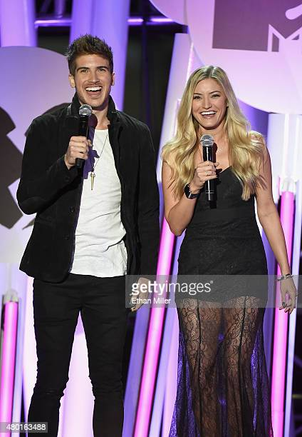 Actor Joey Graceffa and actress Justine 'iJustine' Ezarik speak during the MTV Fandom Fest San Diego ComicCon at PETCO Park on July 9 2015 in San...