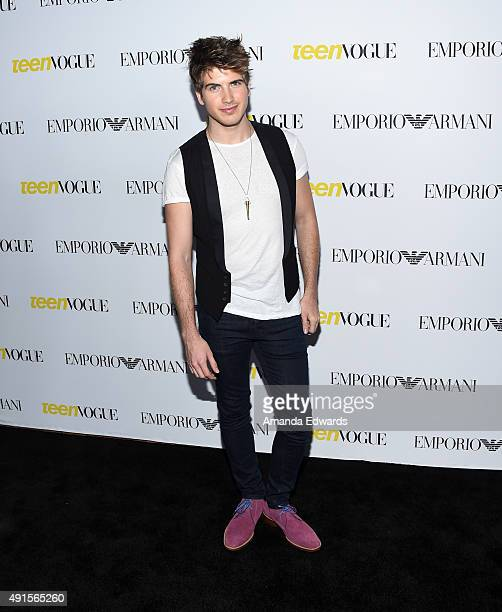 Actor Joey Graceffa arrives at Teen Vogue's 13th Annual Young Hollywood Issue Launch Party on October 2 2015 in Los Angeles California