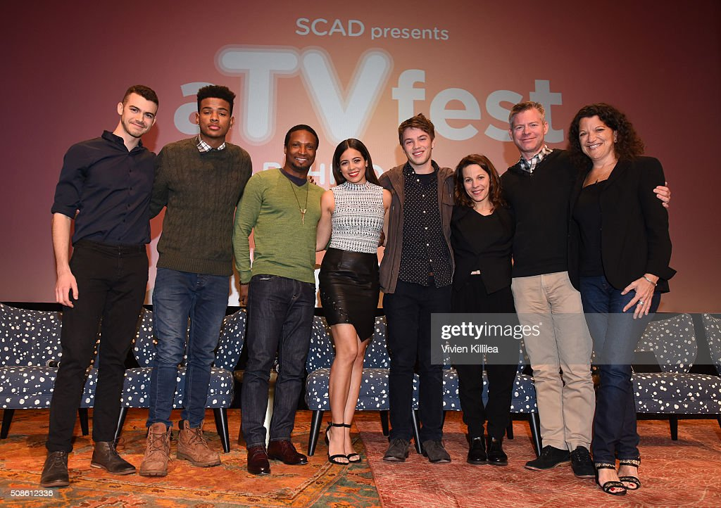 Actor Joey Pollari, actor Trevor Jackson, actor Elvis Nolasco, actress Angelique Rivera, actor Connor Jessup, actress Lili Taylor, Executive producer Michael McDonald and Executive Editor at Variety Debra Birnbaum pose for a photo during 'American Crime' event during aTVfest 2016 presented by SCAD on February 5, 2016 in Atlanta, Georgia.
