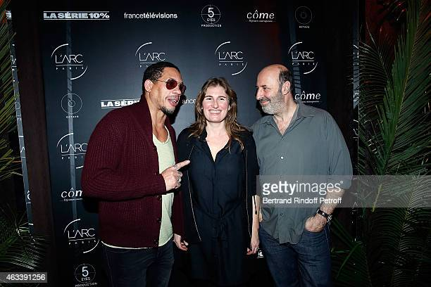 Actor Joey Star Director Lola Doillonand Director Cedric Klapisch attend the Party for the end of the shooting of the Serie '10%' inspired by...