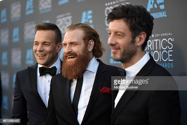Actor Johannes Kuhnke actor Kristofer Hivju and editor Jacob Schulsinger attend the 20th annual Critics' Choice Movie Awards at the Hollywood...