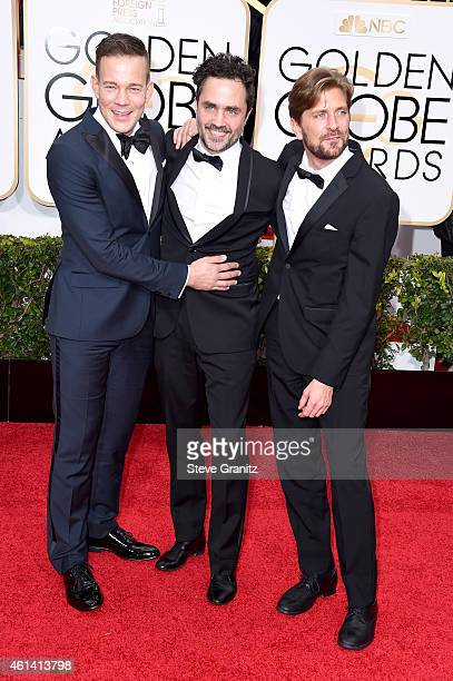 Actor Johannes Kuhnke Erik Hemmendorff and director Ruben Ostlund attend the 72nd Annual Golden Globe Awards at The Beverly Hilton Hotel on January...