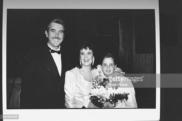 Actor John Alderton standing with his wife actress Pauline Collins who has her arm around their 12yearold son Richard at the 43rd Annual Tony Awards...