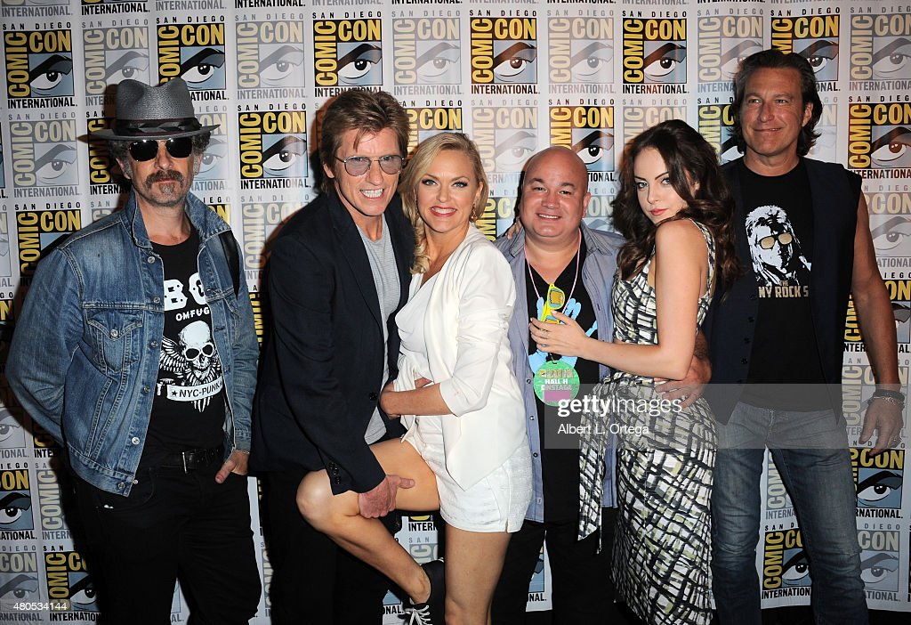 Actor John Ales, actor Denis Leary, actress Ruta Gedmintas, actor Robert Kelly, actress Elizabeth Gillies and actor John Corbett attend the FX TV Block featuring 'Sex&Drugs&Rock&Roll,' 'The Strain,' and a sneak peek of 'The Bastard Executioner' panel during Comic-Con International 2015 at the San Diego Convention Center on July 12, 2015 in San Diego, California.
