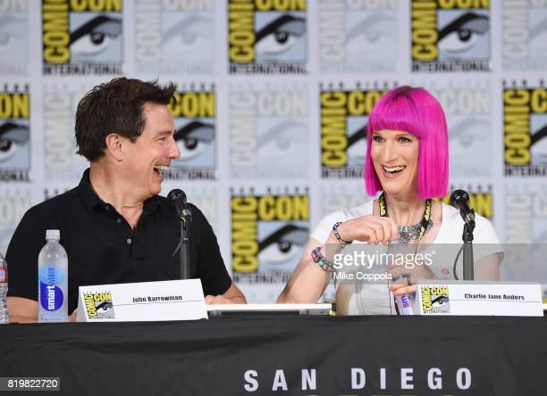 Actor John Barrowman and writer Charlie Jane Anders speak onstage at SYFY hosts The Great Debate during ComicCon International 2017 at San Diego...