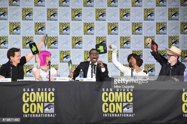 Actor John Barrowman writer Charlie Jane Anders actors Orlando Jones and Aisha Tyler and TV personality Adam Savage speak onstage at SYFY hosts The...