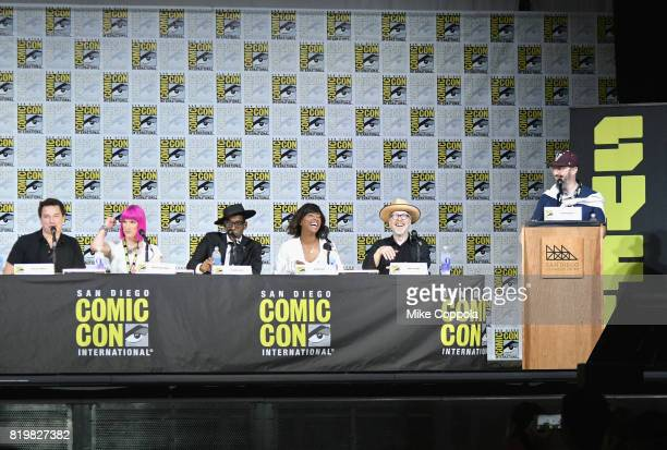 Actor John Barrowman writer Charlie Jane Anders actors Orlando Jones and Aisha Tyler TV personality Adam Savage and moderator John Hodgman speak...
