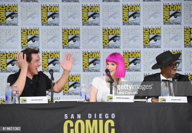 Actor John Barrowman writer Charlie Jane Anders and actor Orlando Jones speak onstage at SYFY hosts The Great Debate during ComicCon International...