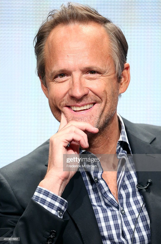 Actor <a gi-track='captionPersonalityLinkClicked' href=/galleries/search?phrase=John+Benjamin+Hickey&family=editorial&specificpeople=556165 ng-click='$event.stopPropagation()'>John Benjamin Hickey</a> speaks onstage at the 'Manhattan' panel during the WGN America portion of the 2014 Summer Television Critics Association at The Beverly Hilton Hotel on July 9, 2014 in Beverly Hills, California.