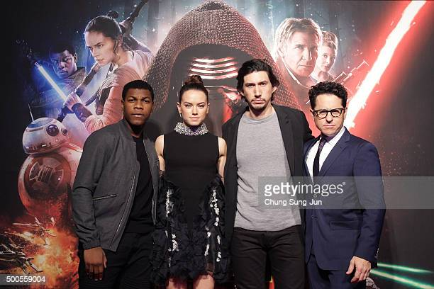 Actor John Boyega actress Daisy Ridley actor Adam Driver and director JJ Abrams attend the event for fans ahead of 'Star Wars The Force Awakens'...