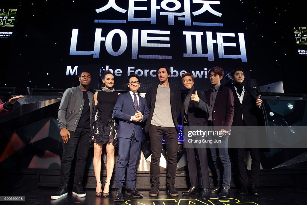 Actor <a gi-track='captionPersonalityLinkClicked' href=/galleries/search?phrase=John+Boyega&family=editorial&specificpeople=7595044 ng-click='$event.stopPropagation()'>John Boyega</a>, actress <a gi-track='captionPersonalityLinkClicked' href=/galleries/search?phrase=Daisy+Ridley&family=editorial&specificpeople=12775973 ng-click='$event.stopPropagation()'>Daisy Ridley</a>, director <a gi-track='captionPersonalityLinkClicked' href=/galleries/search?phrase=J.J.+Abrams&family=editorial&specificpeople=253632 ng-click='$event.stopPropagation()'>J.J. Abrams</a> and acto <a gi-track='captionPersonalityLinkClicked' href=/galleries/search?phrase=Adam+Driver&family=editorial&specificpeople=7131793 ng-click='$event.stopPropagation()'>Adam Driver</a> attend with South Korean boy band <a gi-track='captionPersonalityLinkClicked' href=/galleries/search?phrase=EXO+-+Band&family=editorial&specificpeople=9756418 ng-click='$event.stopPropagation()'>EXO</a> during the event for fans ahead of 'Star Wars: The Force Awakens' South Korea premiere at the Octagon on December 9, 2015 in Seoul, South Korea.