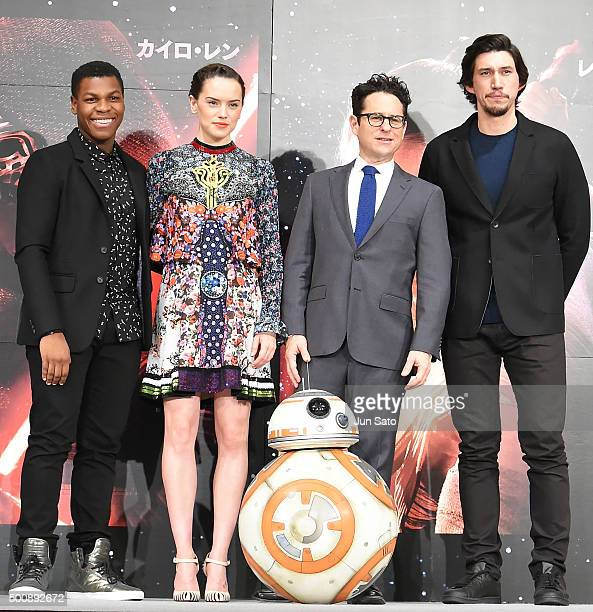 Actor John Boyega actress Daisy Ridley director JJ Abrams and actor Adam Driver attend the press conference for 'Star Wars The Force Awakens' Japan...