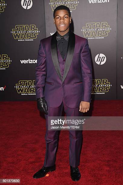 Actor John Boyega attends Premiere of Walt Disney Pictures and Lucasfilm's 'Star Wars The Force Awakens' on December 14 2015 in Hollywood California