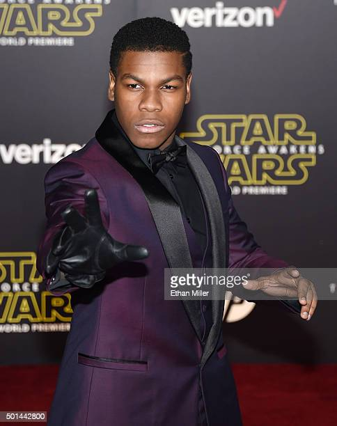Actor John Boyega attends the premiere of Walt Disney Pictures and Lucasfilm's 'Star Wars The Force Awakens' at the Dolby Theatre on December 14 2015...