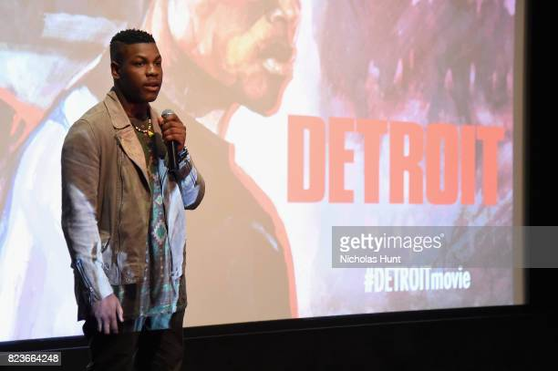 Actor John Boyega speaks onstage at the Detroit special screening at the Crosby Street Hotel on July 27 2017 in New York City
