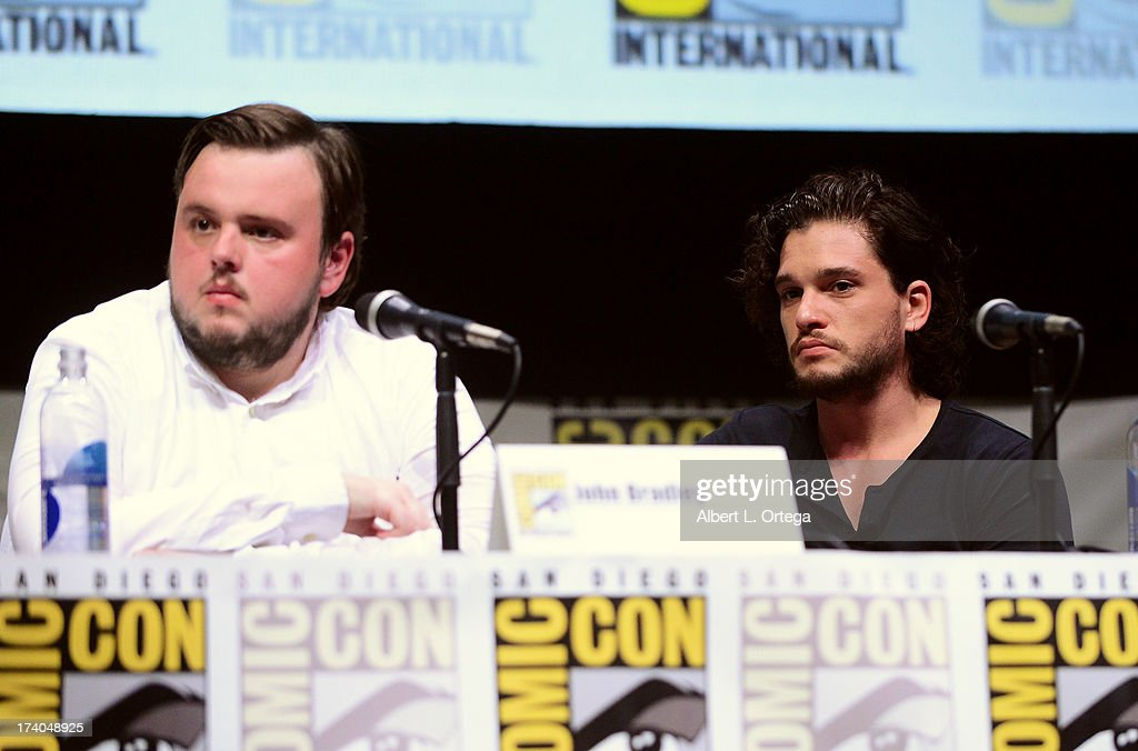 Actor John Bradley (L) and <a gi-track='captionPersonalityLinkClicked' href=/galleries/search?phrase=Kit+Harington&family=editorial&specificpeople=7470548 ng-click='$event.stopPropagation()'>Kit Harington</a> speak onstage during the 'Game Of Thrones' panel during Comic-Con International 2013 at San Diego Convention Center on July 19, 2013 in San Diego, California.