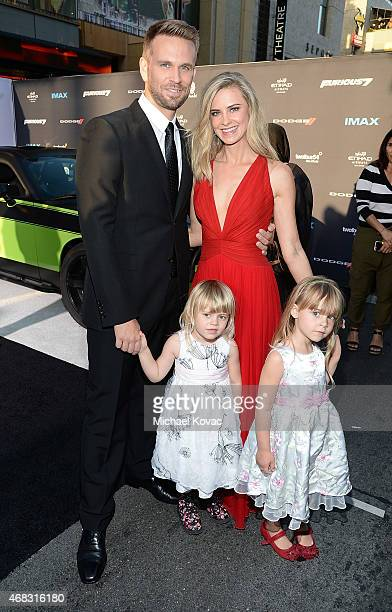 Actor John Brotherton and Alison Brotherton with daughters Saylor and Shia attend the Furious 7 Los Angeles Premiere Sponsored by Dodge at TCL...