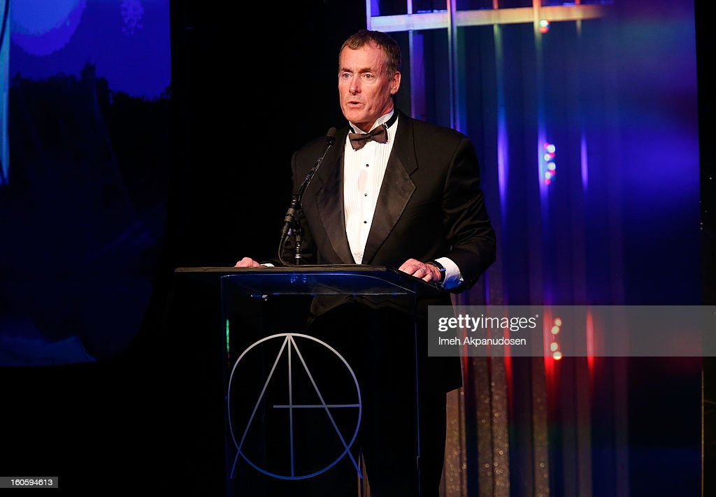 Actor <a gi-track='captionPersonalityLinkClicked' href=/galleries/search?phrase=John+C.+McGinley&family=editorial&specificpeople=227007 ng-click='$event.stopPropagation()'>John C. McGinley</a> speaks onstage at the 17th Annual Art Directors Guild Awards, held at The Beverly Hilton Hotel on February 2, 2013 in Beverly Hills, California.