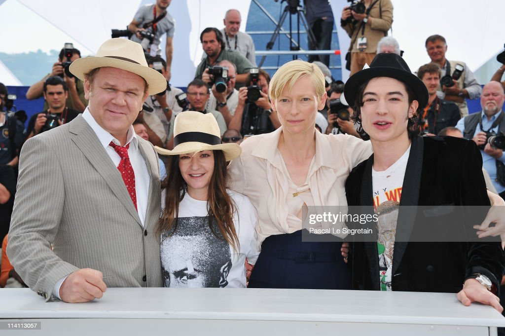 Actor John C Reilly director/writer Lynne Ramsay actress Tilda Swinton and actor Ezra Miller attend the 'We Need To Talk About Kevin' photocall...