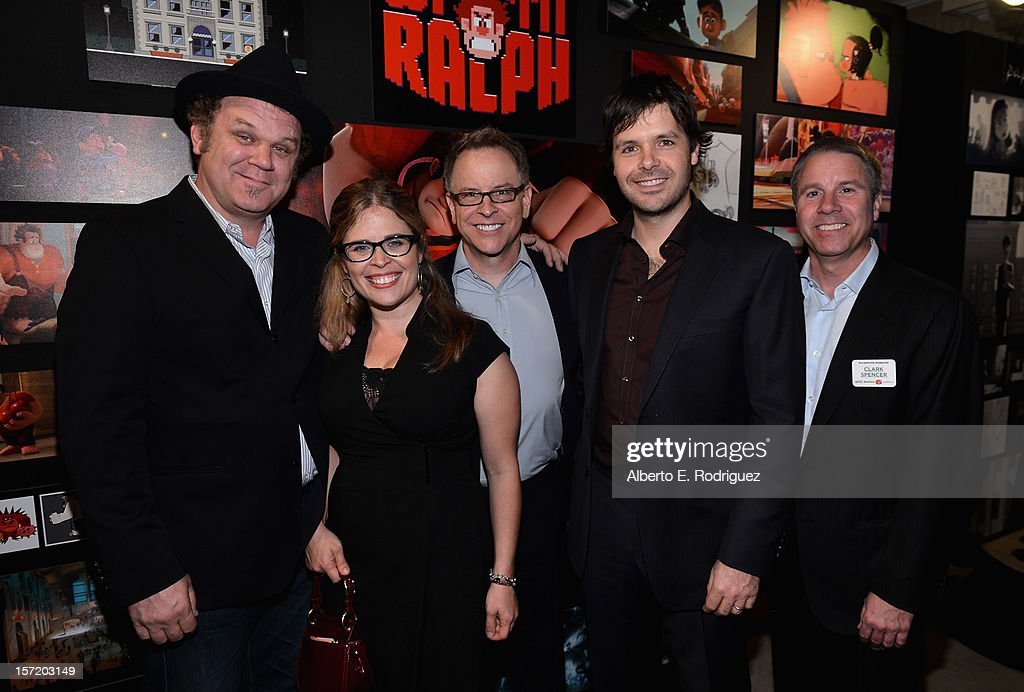 Actor <a gi-track='captionPersonalityLinkClicked' href=/galleries/search?phrase=John+C.+Reilly&family=editorial&specificpeople=210786 ng-click='$event.stopPropagation()'>John C. Reilly</a>, 'Wreck- It Ralph' screenwriter Jennifer Lee, 'Wreck- It Ralph' director Rich Moore, 'Wreck- It Ralph' screenwriter Phil Johnston and 'Wreck- It Ralph' producer Clark Spencer attend Walt Disney Studios 2012 animation celebration at The Beverly Hills Hotel on November 29, 2012 in Beverly Hills, California.